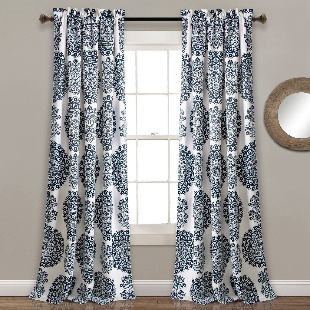 Evelyn Medallion Room Darkening Window Curtain Panels Navy Set 52X95+2 - Lush Decor 16T004085