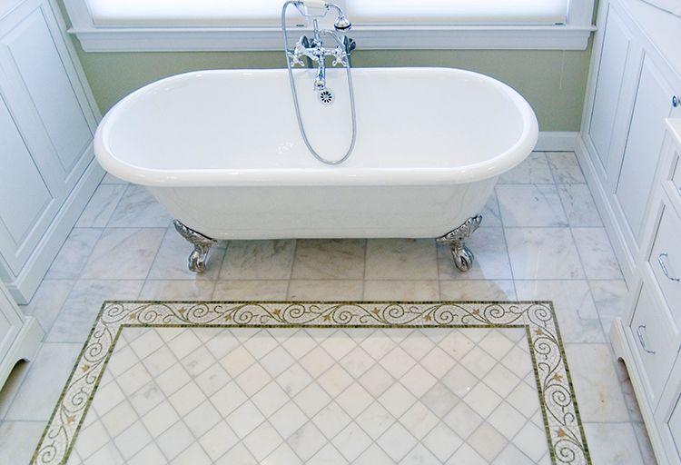 Clawfoot Tub with Custom Marble Tile Floor Rug House