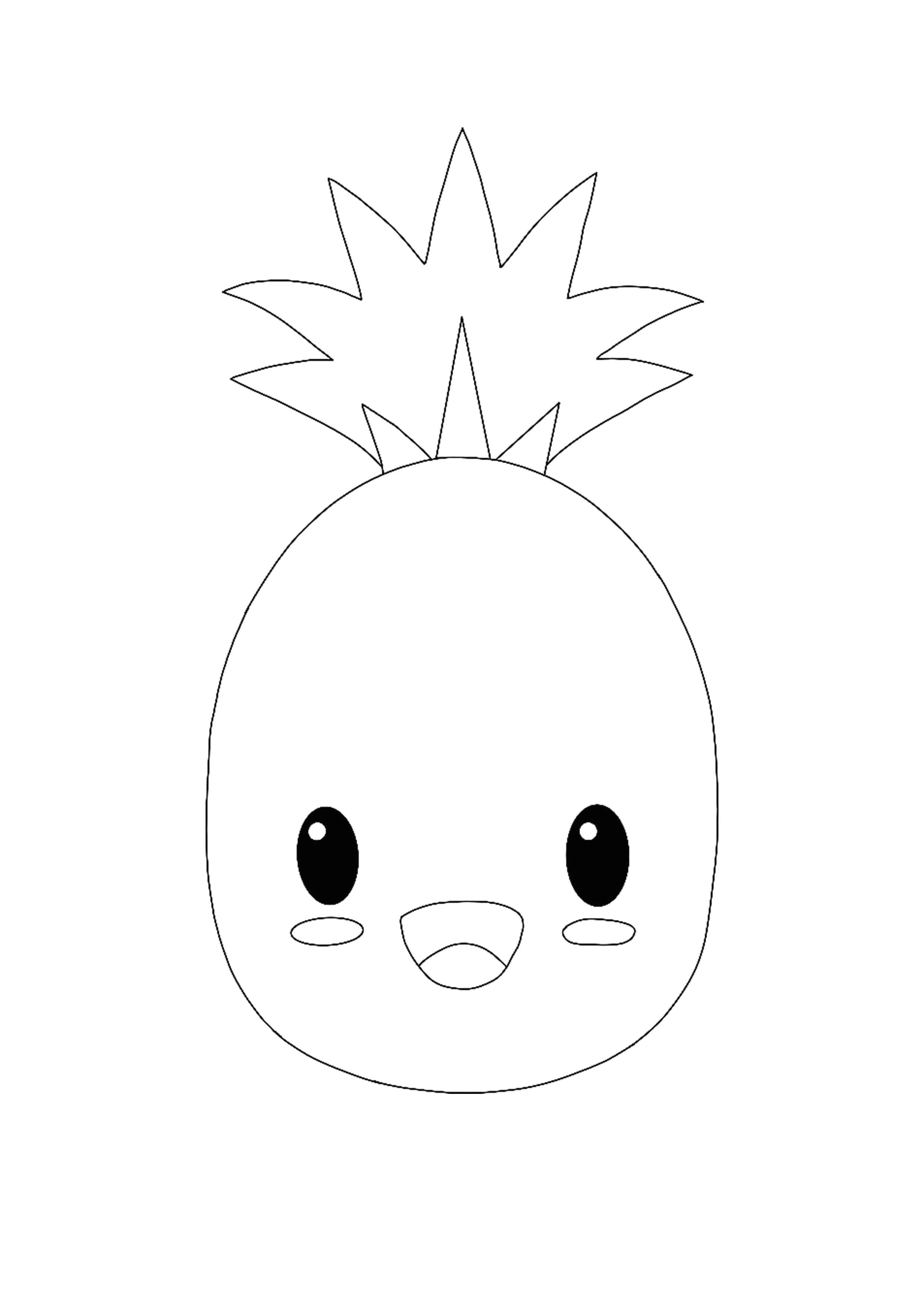 Easy Kawaii Pineapple Coloring Page In 2020 Kawaii Pineapple Coloring Pages Free Printable Coloring Pages
