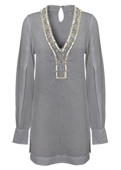 d4461c42417 120% LINO EMBELLISHED TUNIC GREY