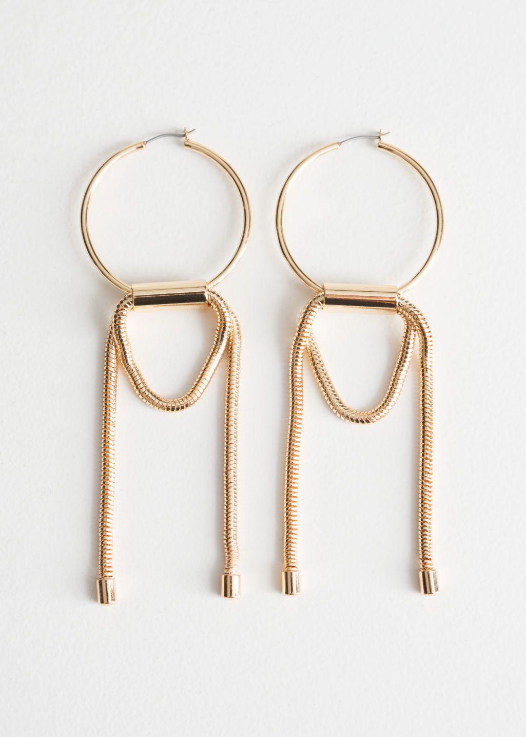 Other Stories Chain Loop Hoop Earrings Hoop Earrings Heart Shaped Diamond Stud Earrings Safety Pin Earrings