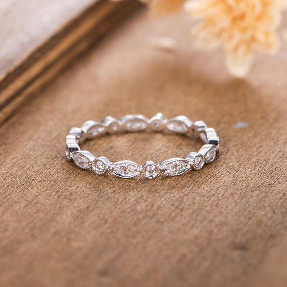 White Gold Art Deco Wedding Band Women Diamond Bridal Wedding | Etsy