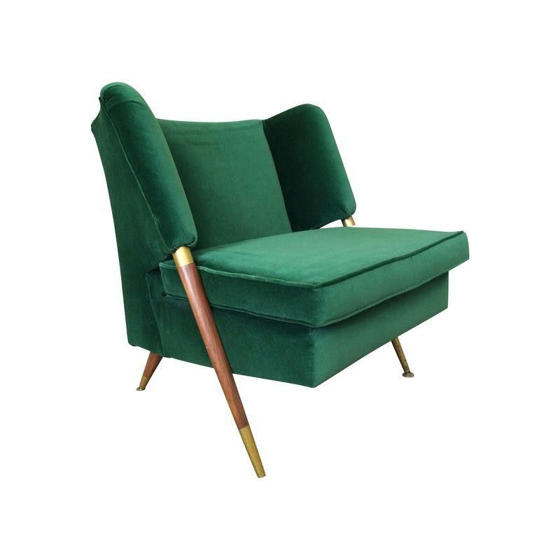 Beautiful Mid Century Emerald Velvet Chair From Chairishco Check