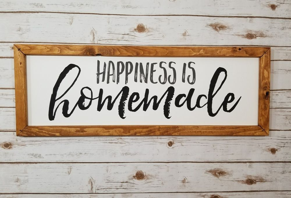Large 3 ft rustic farmhouse happiness is homemade framed