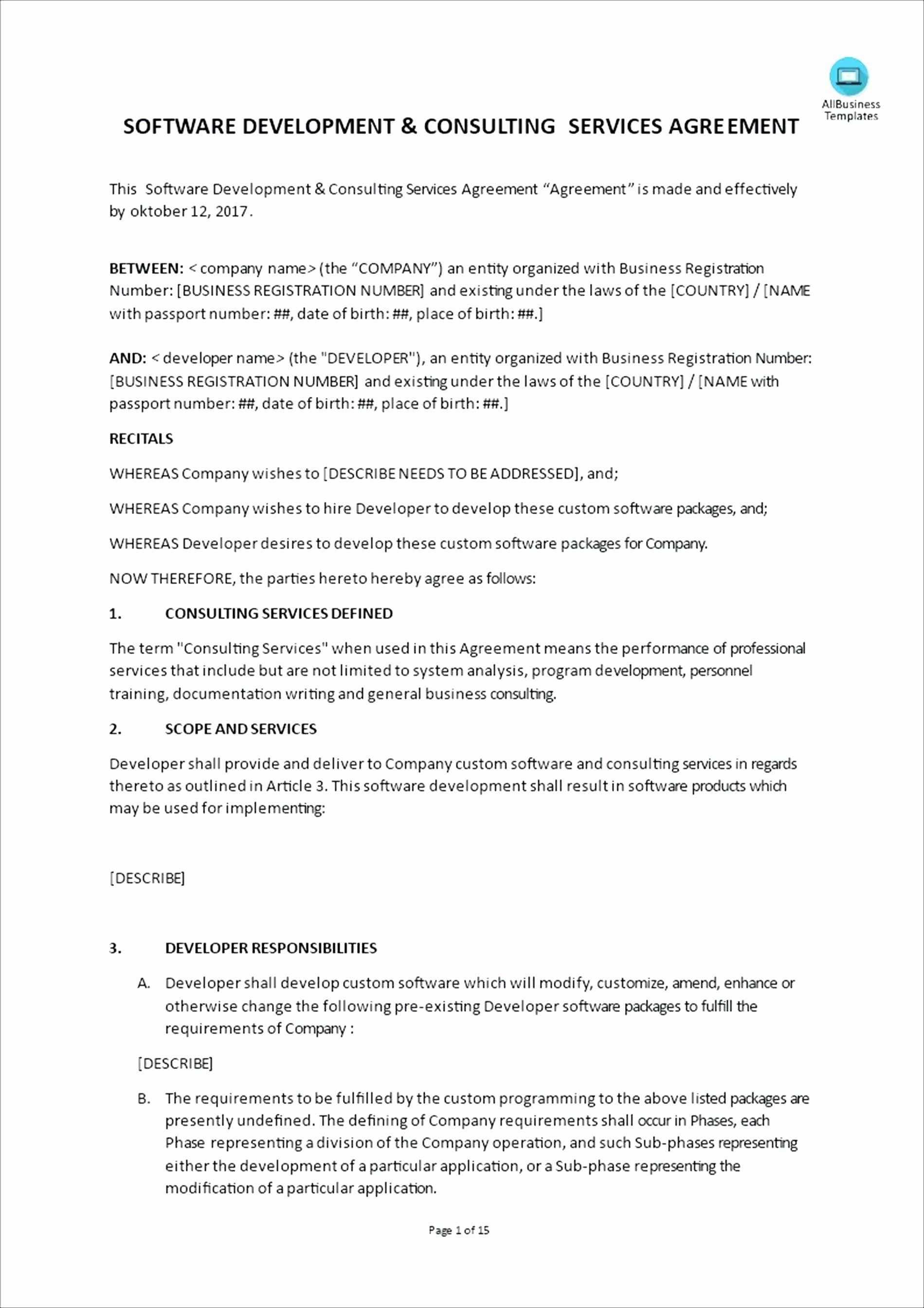 Consulting Contract Template Free Download Luxury Template