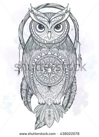 Owl with tribal ornament. Hand drawn vector illustration.