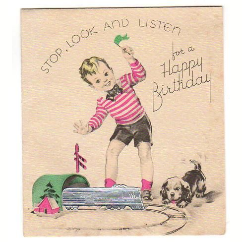 Vintage Children S Birthday Card Little Boy With Puppy And Silver Foiled Train And Track Unused Vintage Birthday Cards Kids Birthday Cards Old Birthday Cards