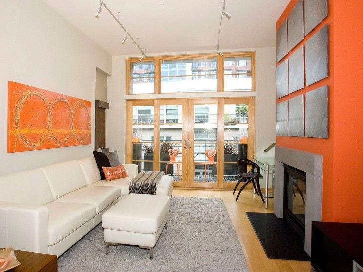 Kombinasi Warna Cat Ruang Tamu Orange Dan Putih