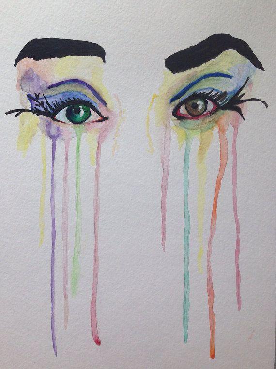 ORIGINAL Watercolor Painting Eyes Original di PaintPencilAndPaper