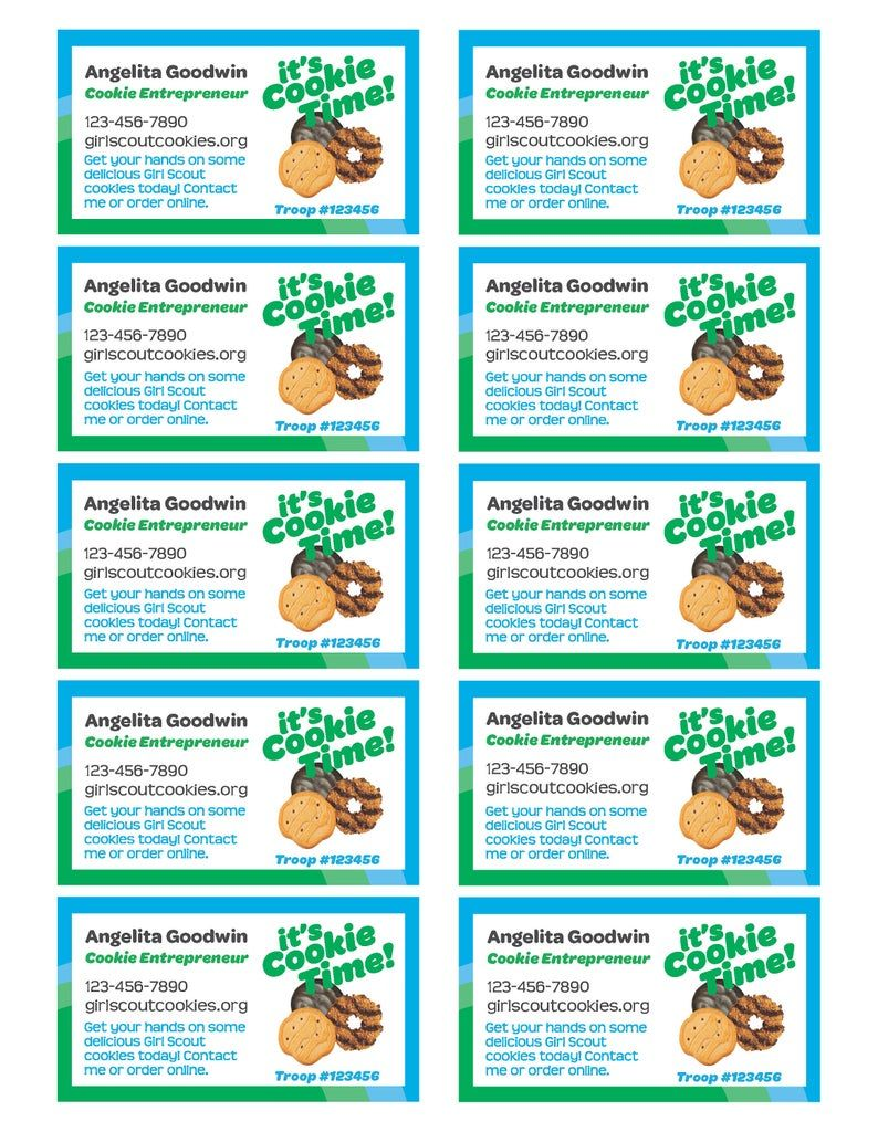 Girl Scout Cookie Seller Business Cards Pdf Template Etsy In 2021 Girl Scout Cookie Sales Girl Scout Cookies Booth Girl Scout Cookies