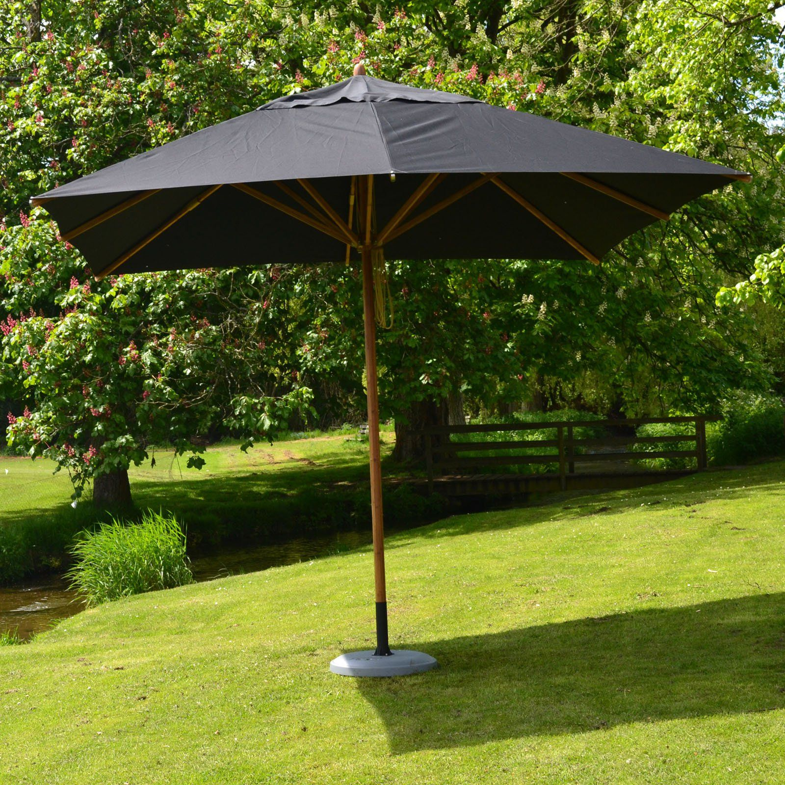 Bambrella Levante 11 Ft Square Bamboo Market Patio Umbrella With 2 25 In Pole Diameter Ice White Patio Umbrella Patio Patio Umbrellas