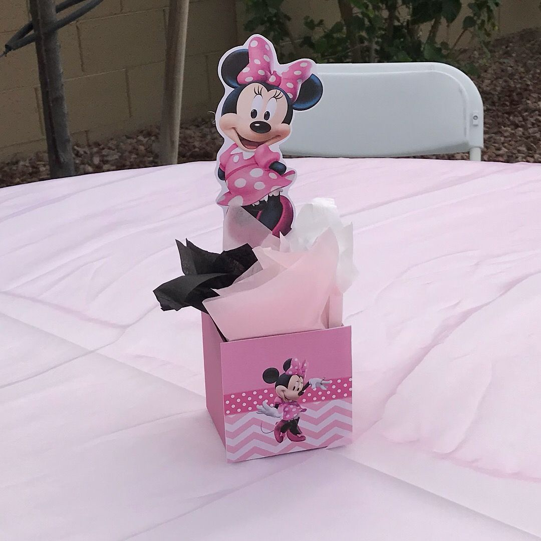 Minnie mouse box centerpieces created by bella party decor