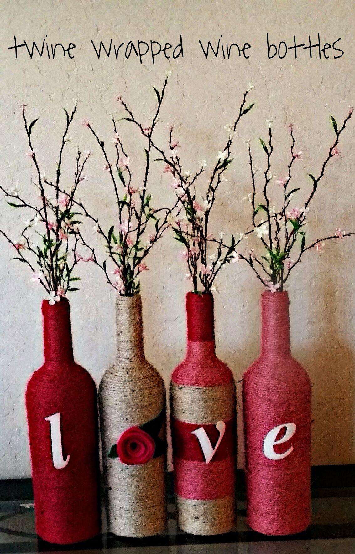 Twine Wrapped Wine Bottles Wrapped Wine Bottles Painted Wine Bottles Beer Bottle Crafts