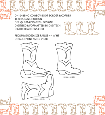 Cowboy Boots Border & Corner by Dave Hudson DH1248BNCPR