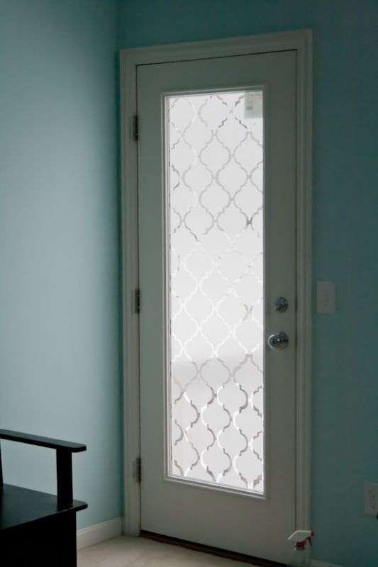 Faux Frosted Glass Back Door Makeover Glass Doors Doors And Glass