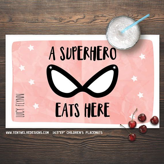 superhero personalized placemat for