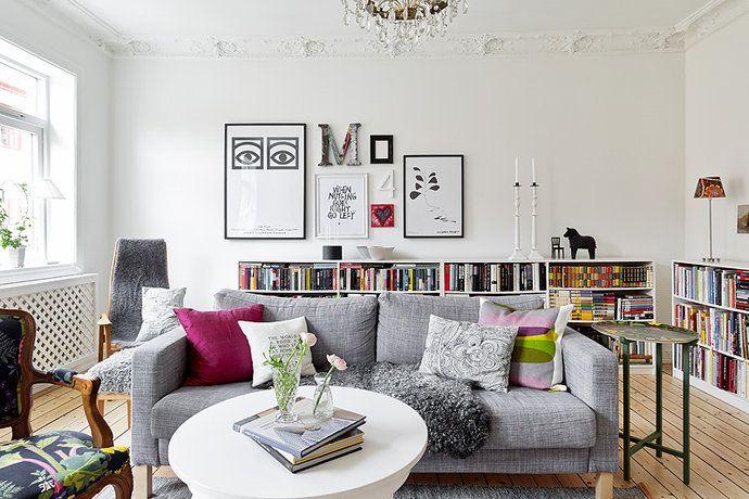 Bilder, Vardagsrum, Bokhylla, Matta, Soffa Hemnet Inspiration Interior Livingroom