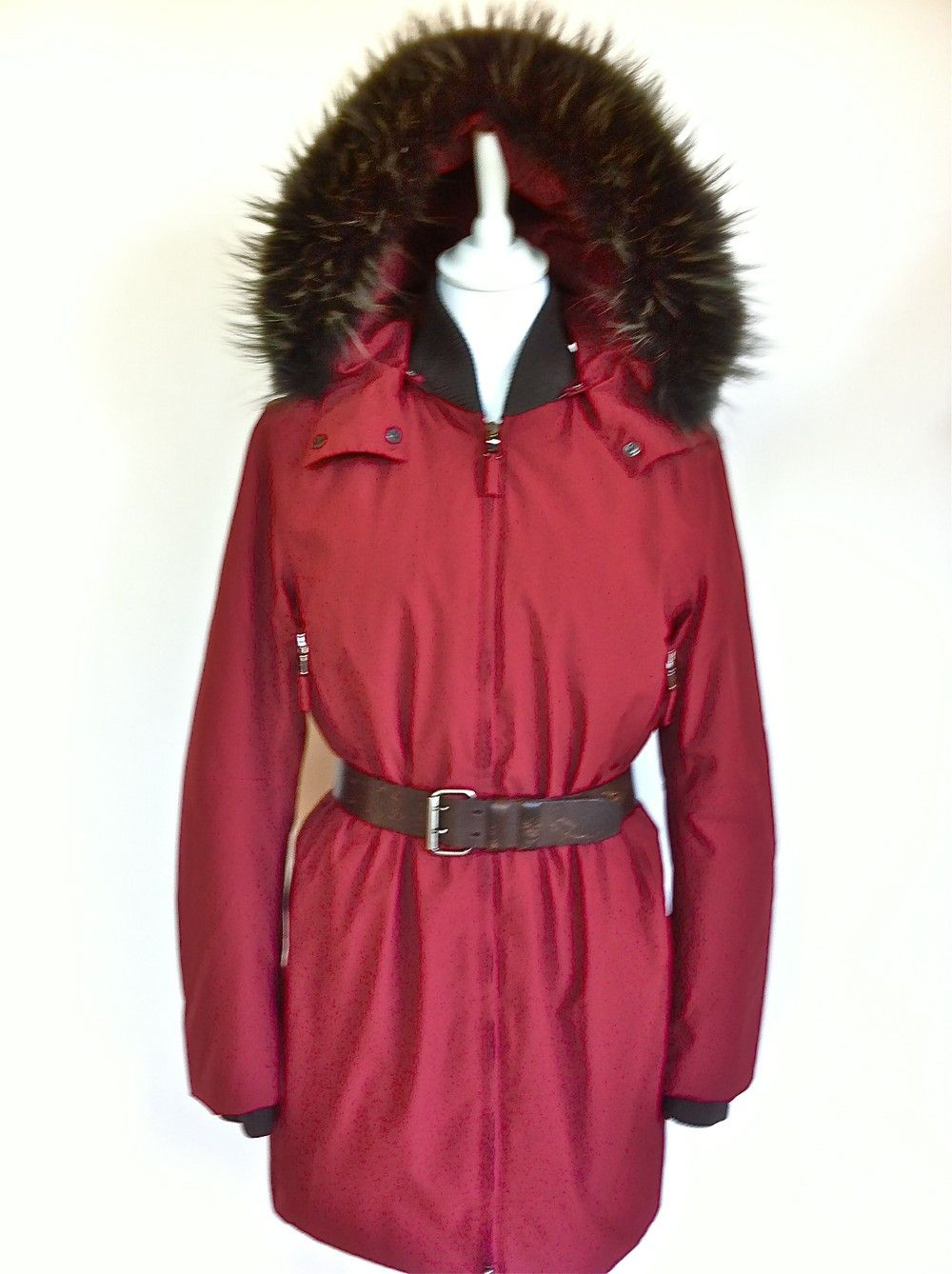 Prada Berry Anorak With Fur Trimmed Hood Size 38 via The Queen Bee. Click on the image to see more!