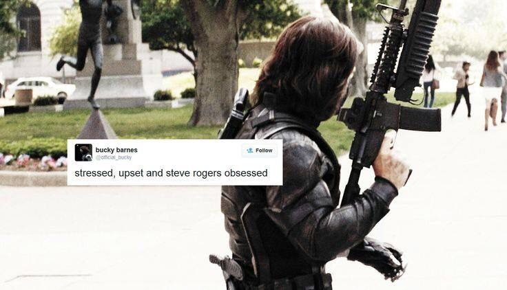 ''Stressed, upset and Steve Rogers obsessed.'' / Yup, that's Bucky.