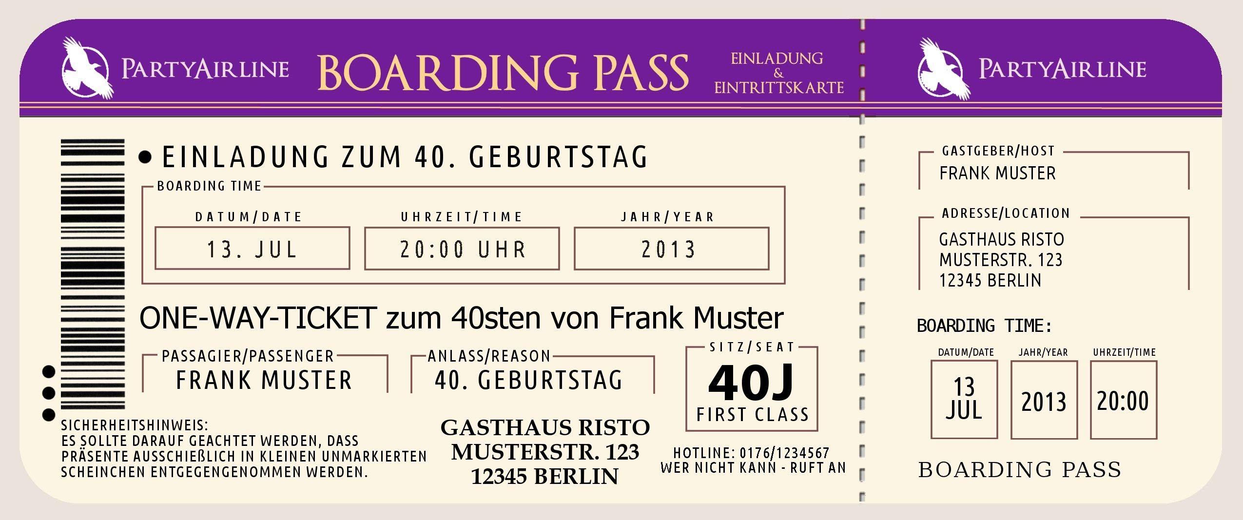 Einladungskarten 40. Geburtstag Witzig Kostenlos | Einladungen ...