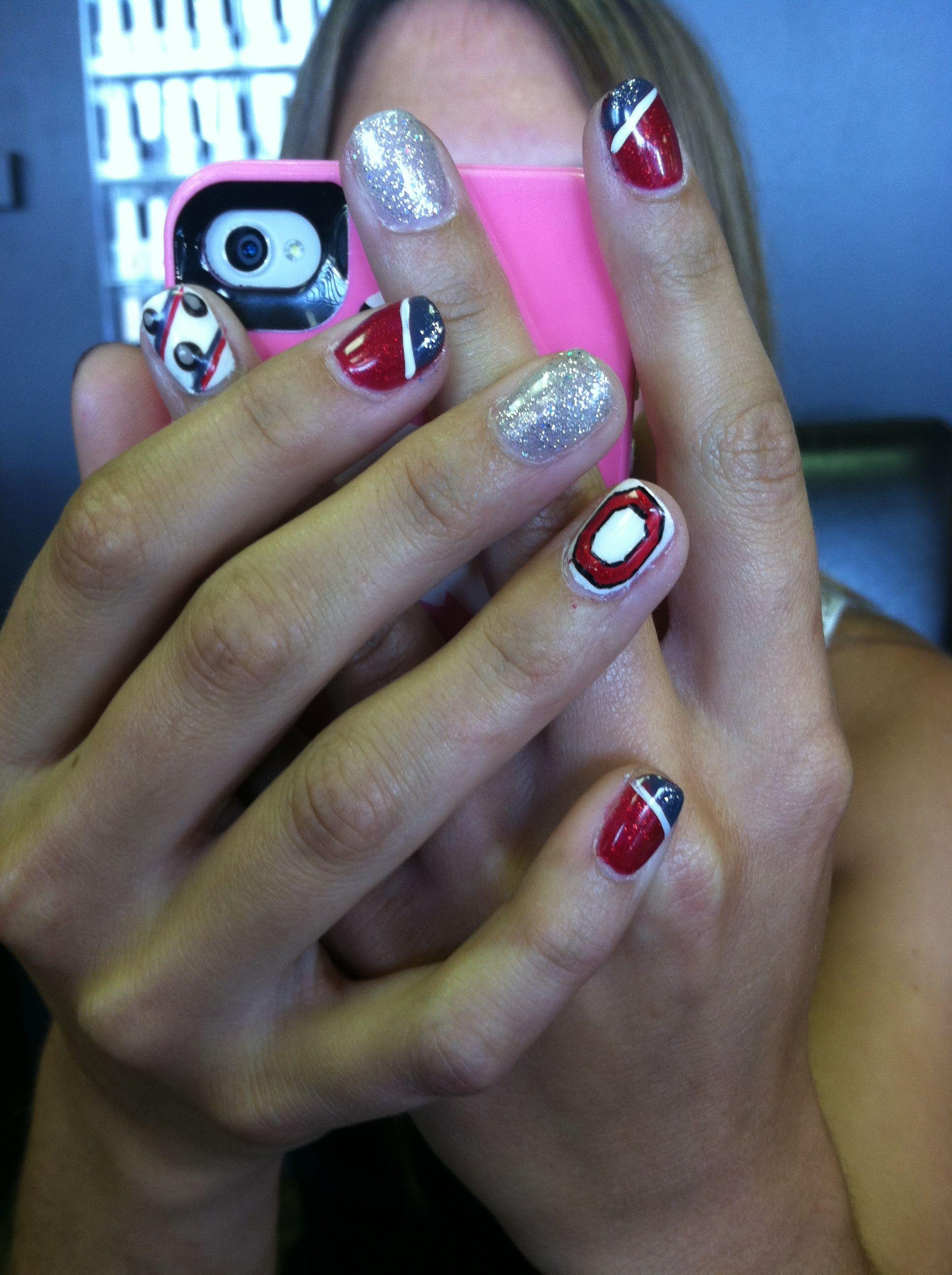cute ohio state buckeye nail art