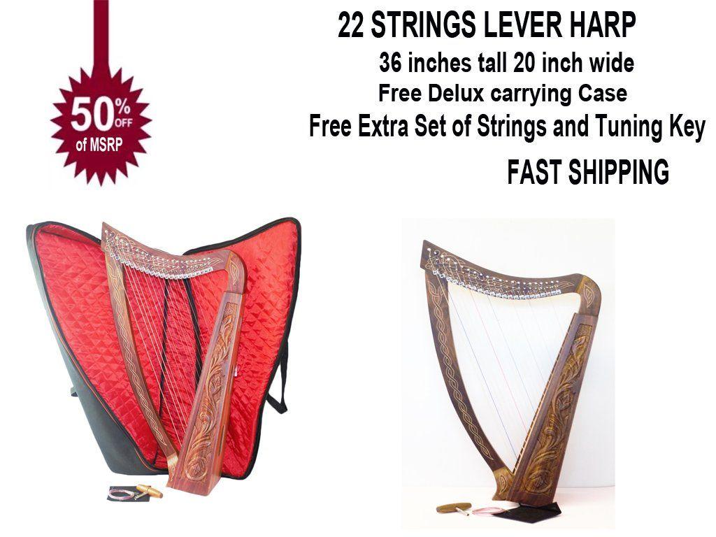 22 Strings Lever Harp Folk Harp Solid Wood Free Bag Key and Extra String Set