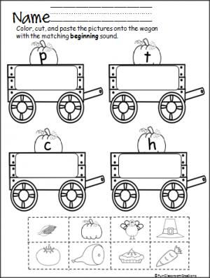 Beginning Sounds Wagon (letters P,T,C,H) is a fun cut and