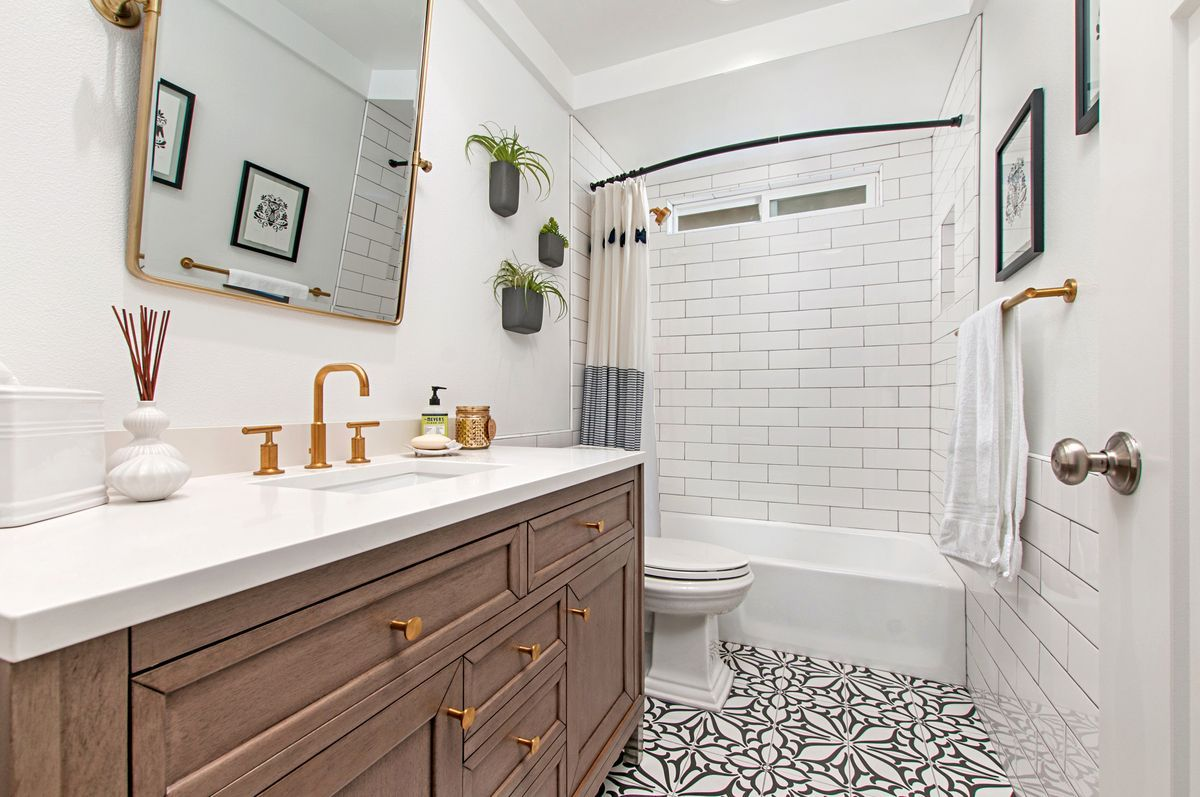 The Neo Decor Classic Tile On The Floor Of This Bathroom Remodel