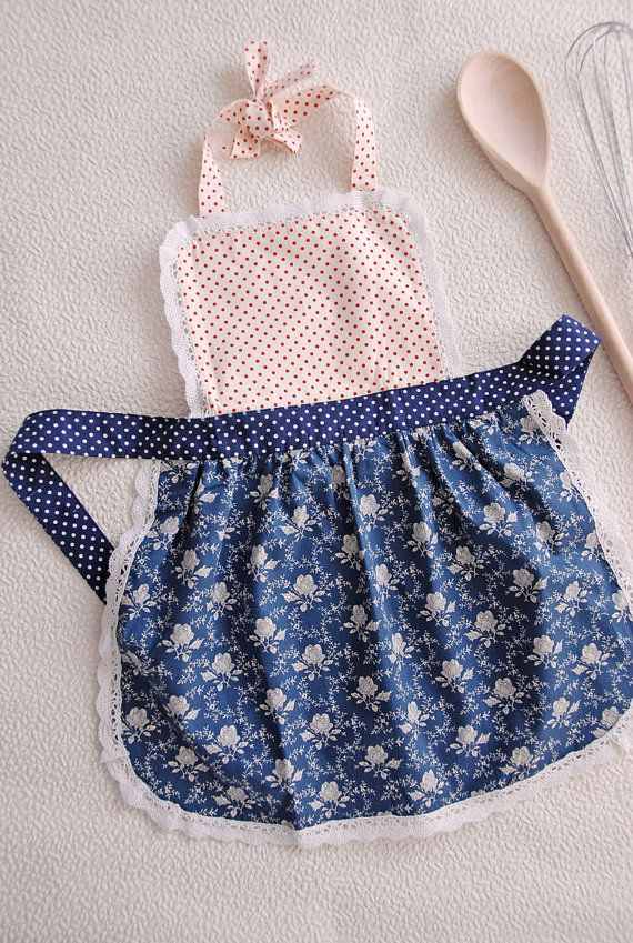 Kitchen Apron For Kids Pantry Aprons Child Toddler Girls Childrens Set Pinny Childs Polka Dot Floral Bib Blue Party Gifts