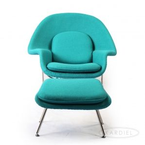 Womb Chair & Ottoman, Turquoise Bouclé Cashmere Wool |