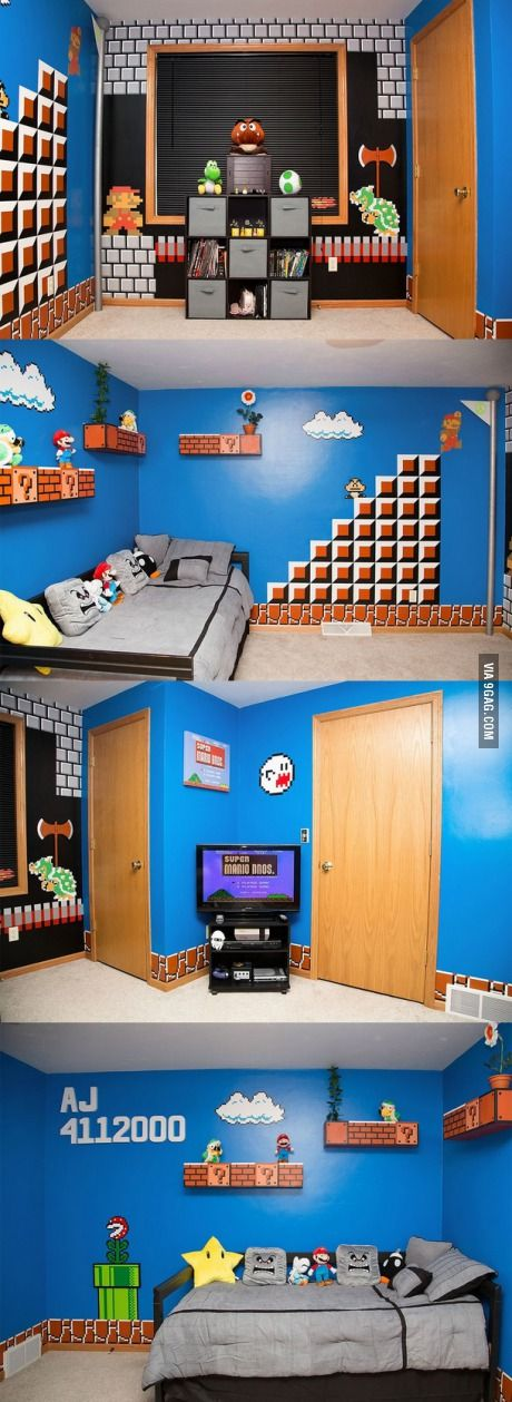 awesome father made daughter a mario bros themed room gaming room pinterest kinder zimmer. Black Bedroom Furniture Sets. Home Design Ideas