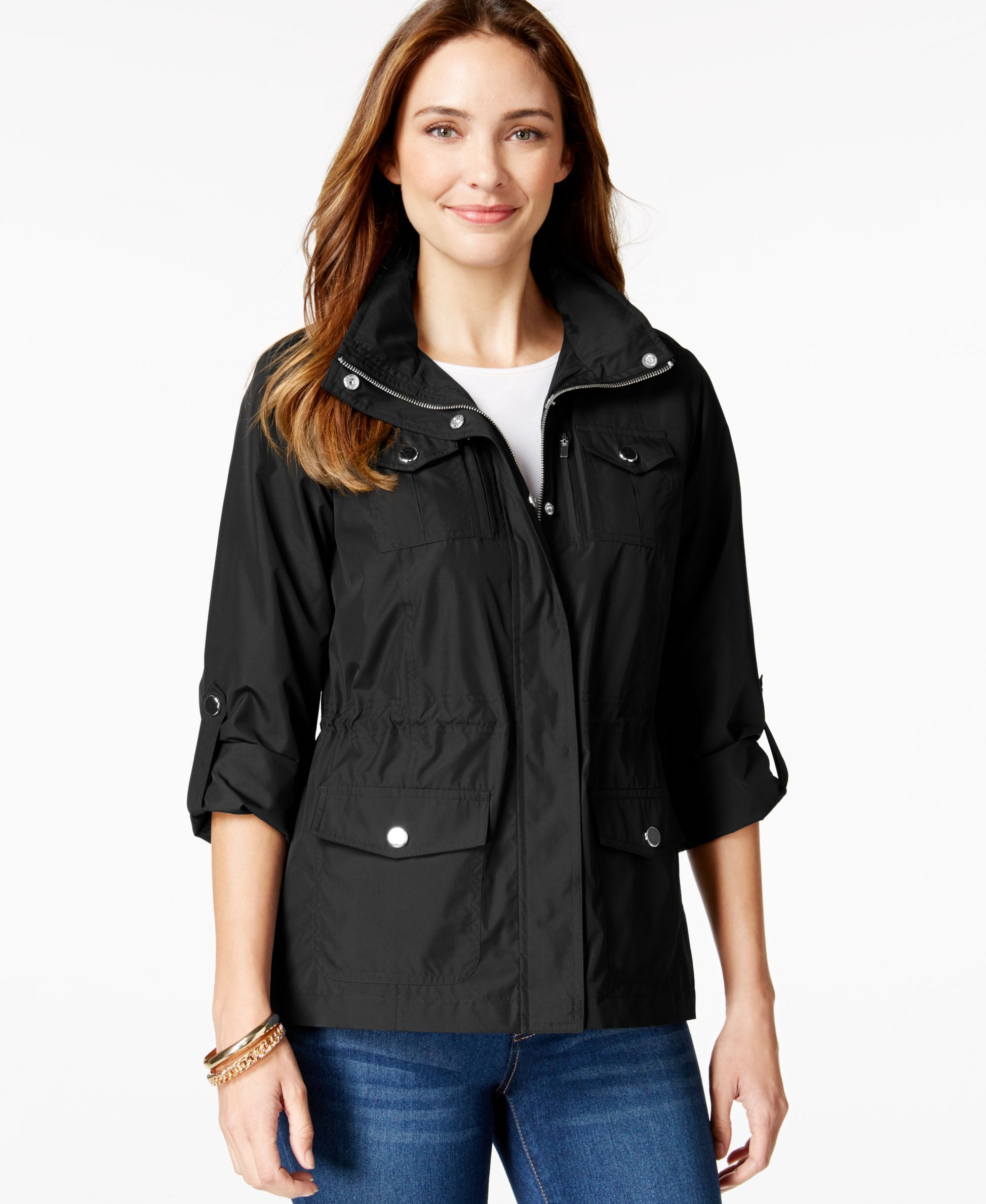 Style & Co. Sport Petite Zip-Pocket Hooded Anorak, Only at Macy's