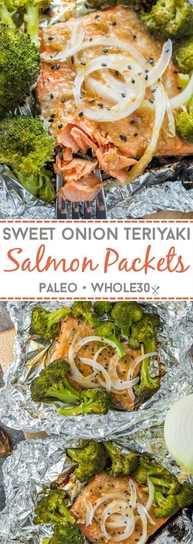 Sweet Onion Teriyaki Salmon Packets (Whole30)   Foil packets #teriyakisalmon Swe...,  #foil #... #teriyakisalmon