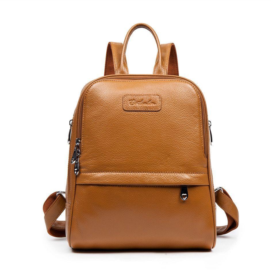 866da2c3438 Bostanten Fashion Genuine Leather Backpack Women Bags Preppy Style Backpack  Girls School Bags Zipper Shoulder Women s Back Pack