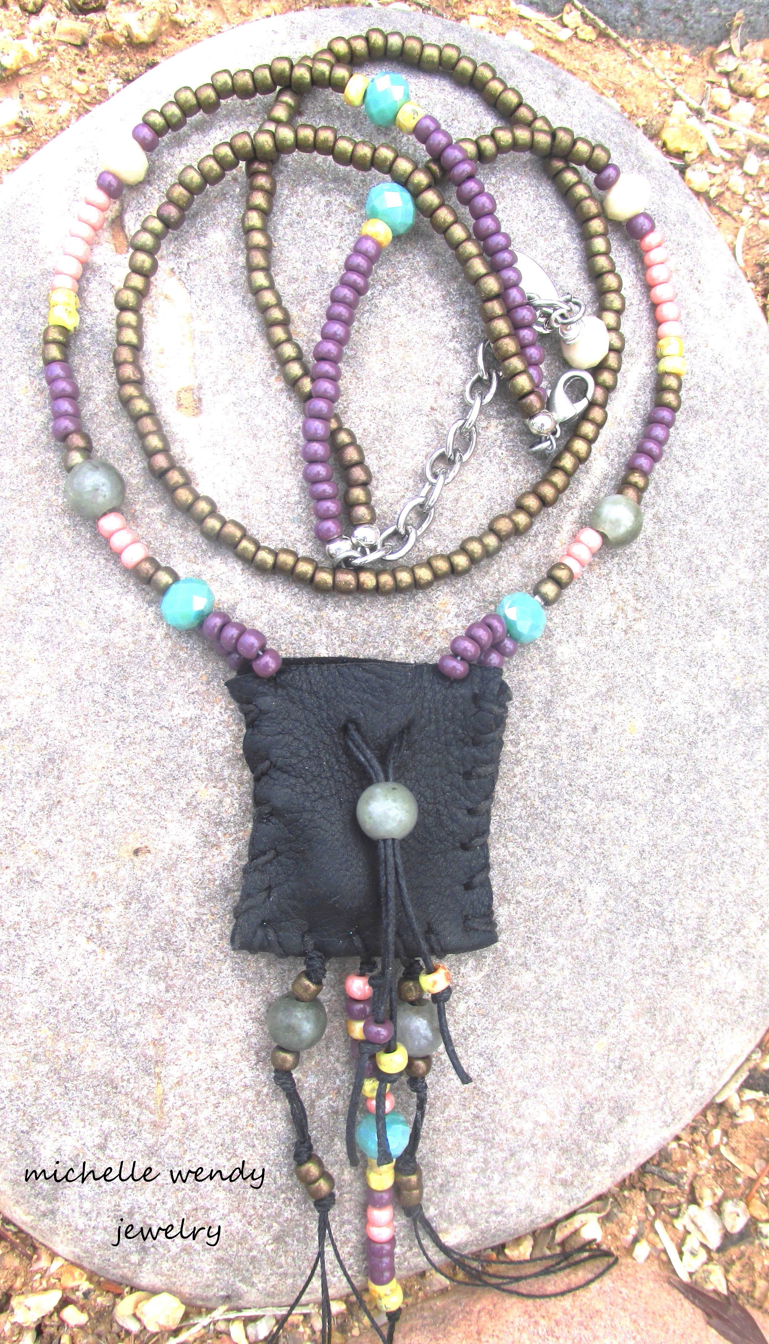 HANDMADE DEERSKIN BOHO CHIC MEDICINE POUCH FOR YOU TO KEEP CLOSE TO YOUR HEART .. HEALING LABRADORITE STONES