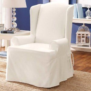 White Wing Chair Slipcover Slipcovers For Chairs