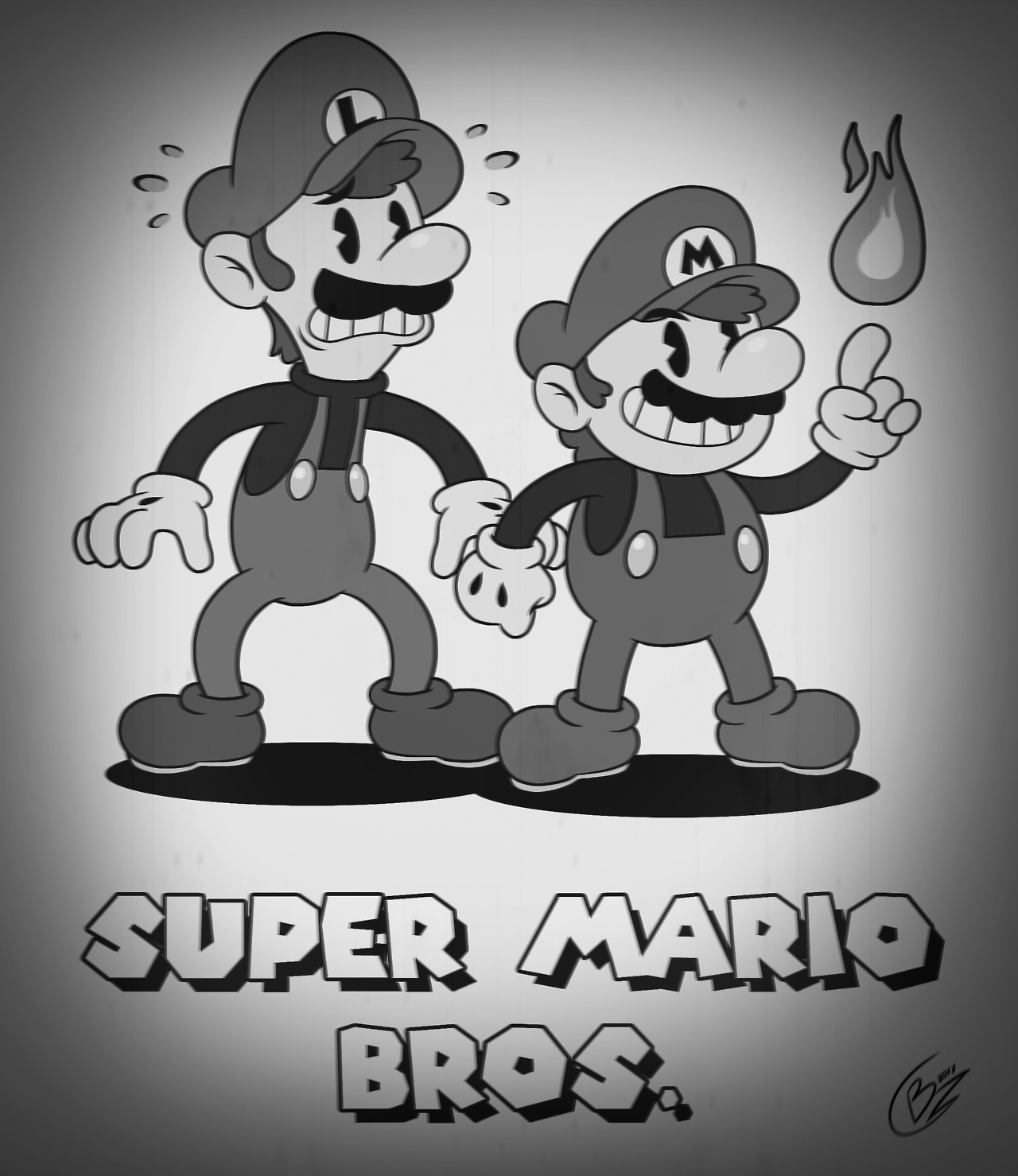 Super Mario Bros X Cuphead Black White Super Mario Art Vintage Cartoon Retro Cartoons