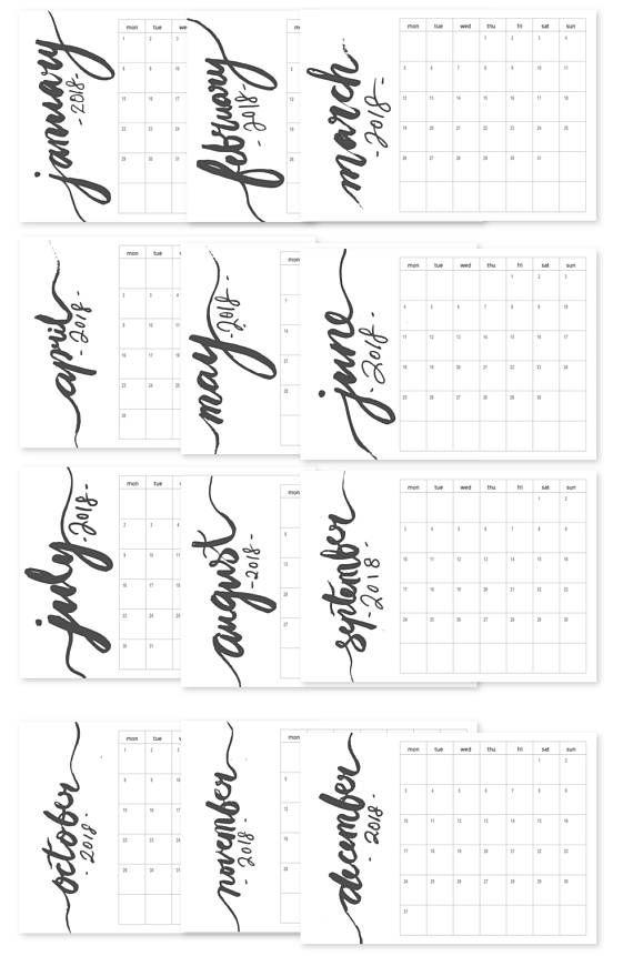 printable simple monthly calendar 2018 monday starts large wall calendar brush script