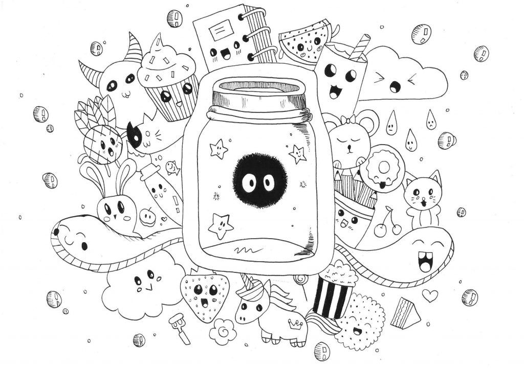 Coloring Pages Cute Food Best Of Easy And Kawaii Graffiti By Garbi Kw Inspirationa Monsters Unicorns Funny Animals A Doodle Very