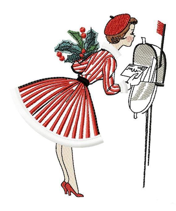 A Christmas Note Machine embroidery design fringe, Christmas vintage design, christmas greetings design, retro vintage design 5*7, 6*8, 6*9