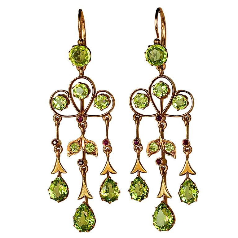 Art nouveau russian peridot chandelier earrings chandelier art nouveau russian peridot chandelier earrings mozeypictures Choice Image