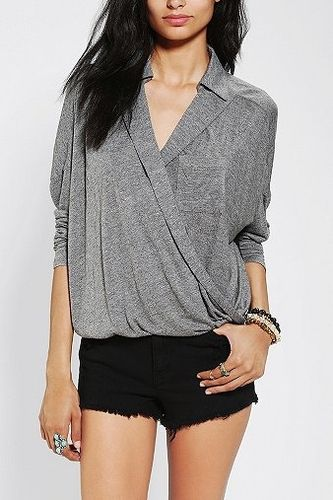 Sparkle & Fade Surplice Collared Shirt in  from Urban Outfitters on shop.CatalogSpree.com, your personal digital mall.