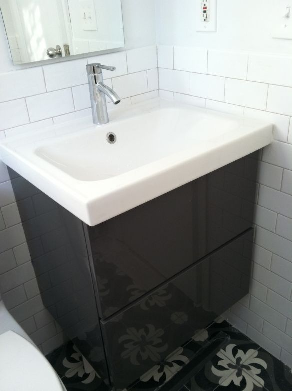 tile on wall behind-- Godmorgon vanity with Odensvik sink ...