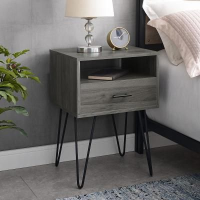 Welwick Designs Modern Slate Grey 1 Drawer Hairpin Leg Side Table Hd8133 The Home Depot Side Table Decor Bedroom Side Tables Bedroom Modern Side Table Bedroom