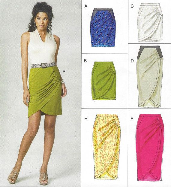 Womens Mock Wrap Skirt Sarong Style Skirt in 2 Lengths OOP Vogue ...