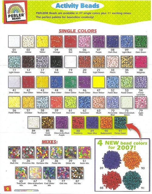 Perler Bead Color Chart by margieelisabeth, via Flickr