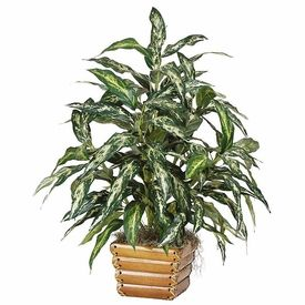 "31"" Aglaonema Chinese Evergreen Silk Plant w/Wicker Basket |Wholesale Silk Plants Chinese Evergreen House"