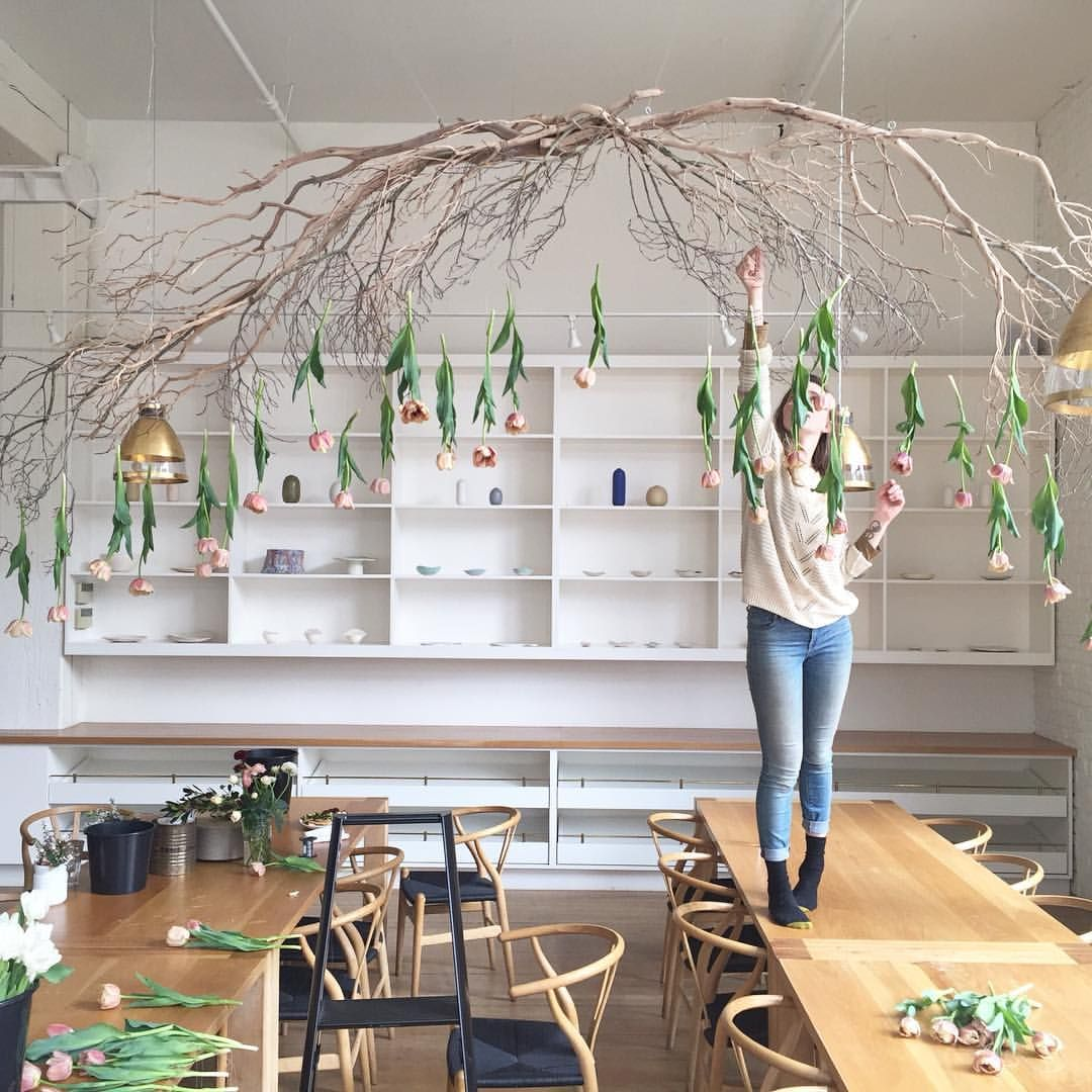 491 Likes 36 Comments The London Plane Londonplaneseattle On Instagram Tulip Installati Spring Window Display Ceiling Decor Things To Hang From
