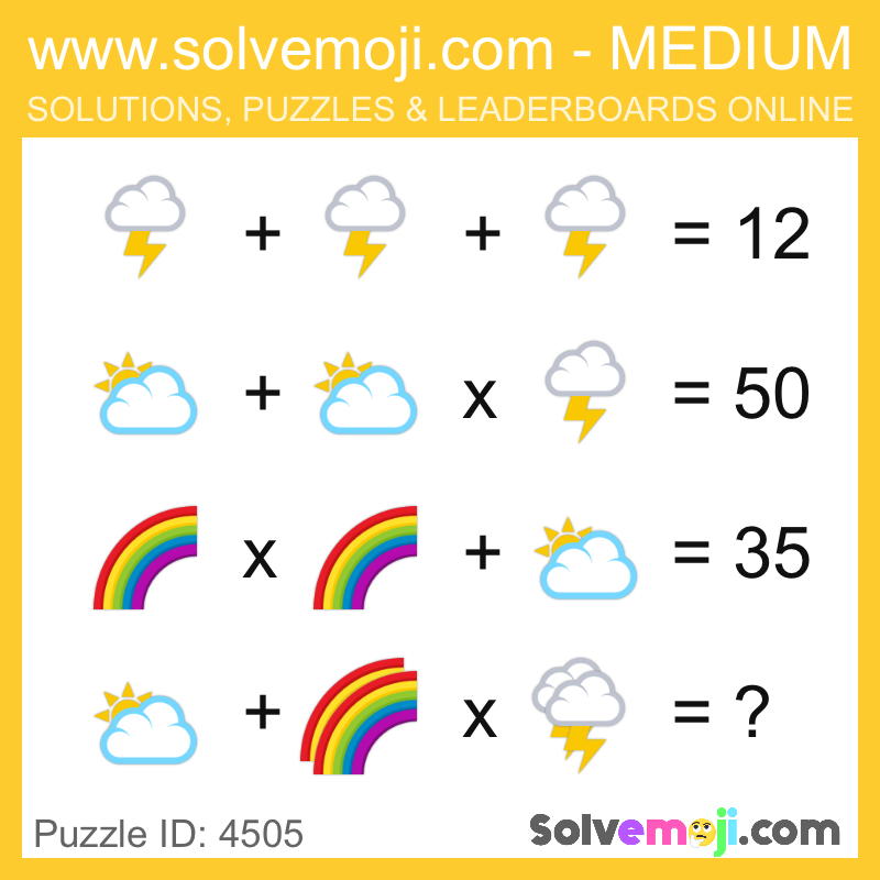 Puzzle 4505 Math Puzzles Brain Teasers Maths Puzzles Emoji Math