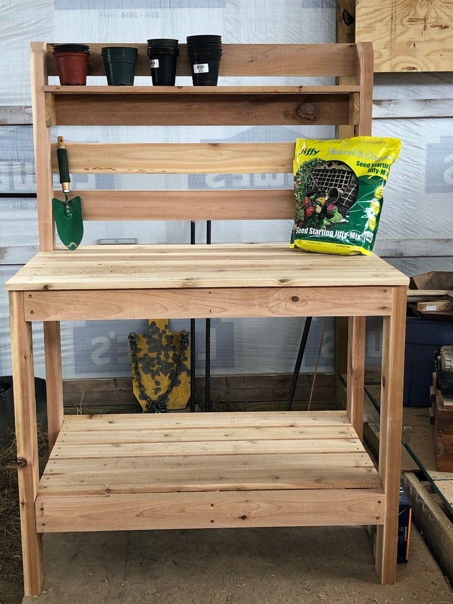 Potting Bench Built With Cedar Ana White Potting Bench Built In Bench Potting Bench Plans